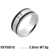 RXY00018 lastest men and women zircon stone black ring fashion 316l stainless steel custom jewelries