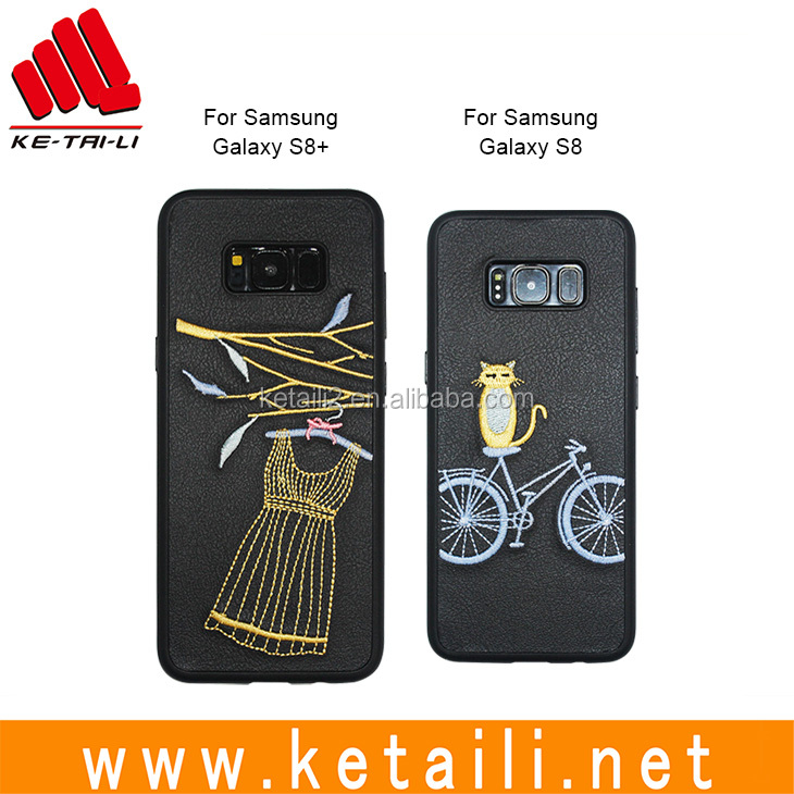 Factory supply custom Brand New embroidered phone case for samsung s8/s8 plus