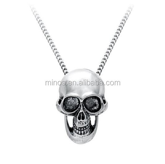 Stainless Steel New Design Antique Skull Heads Pendant Necklace