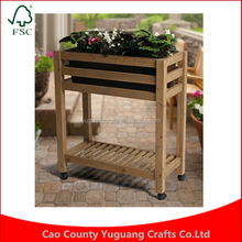 Moveable Rustic Style Brown Wood Freestanding Plant Flower Planter Box Stand Elevated Garden Bed System