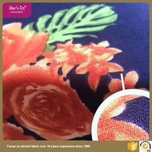 China supplier 75D two layers printing 100 polyester 4 way spandex fabric for garment like dress