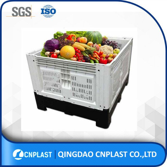 hdpe bulk heavy duty satckable large vented fruit folding plastic pallet bin