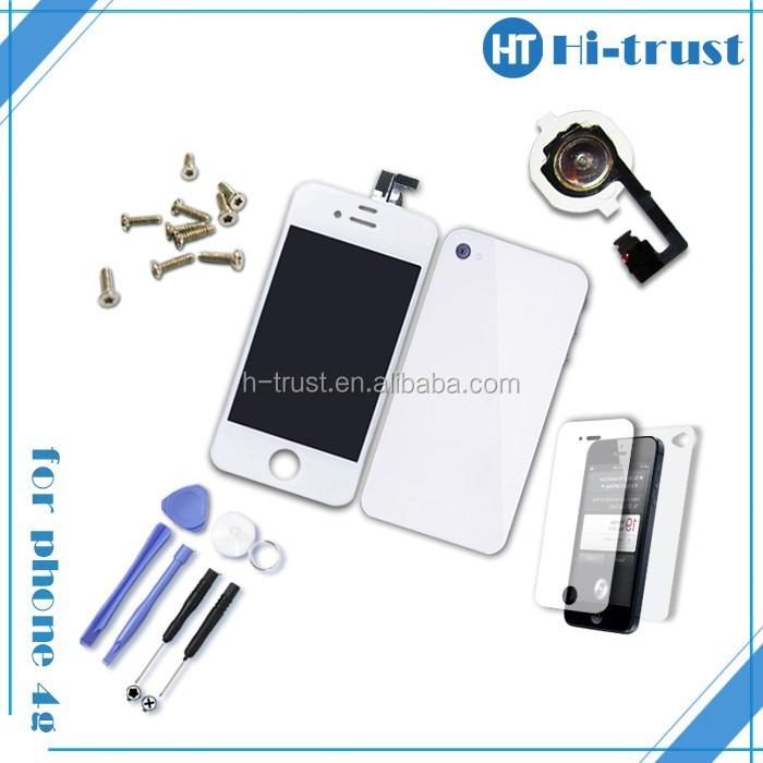 Free DHL Shipping Factory directly high quality Full Set LCD for iphone 4 CDMA with back cover, home button and protector