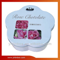 Flower shape chocolate tin box