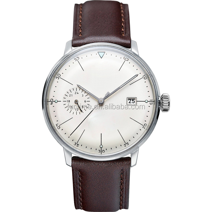 Classic quartz watch with Italy leather strap with a counter-eye and calendar window