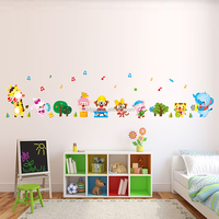 Personalized removable eco-friendly PVC dormitory bedroom baby's room animal concert wall stickers for decoration