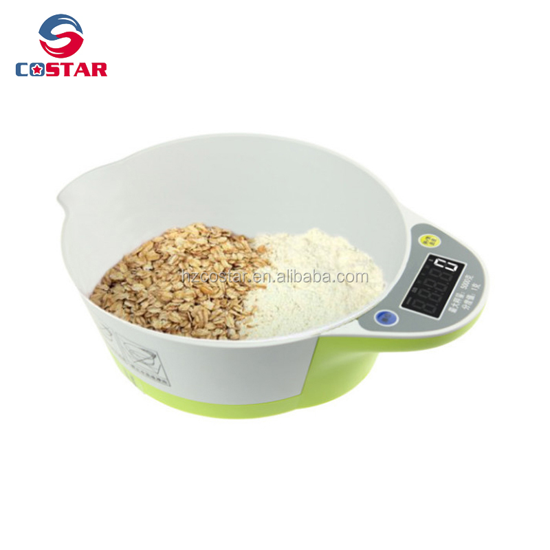 5000g max d 1g digital kitchen weighing scale with bowl LED kitchen scale meat seafood scale