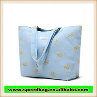 factory direct sale banana print lady tote bag canvas shopping bag shoulder bag R118