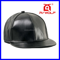 Fashion new black plain leather snapback cap small order