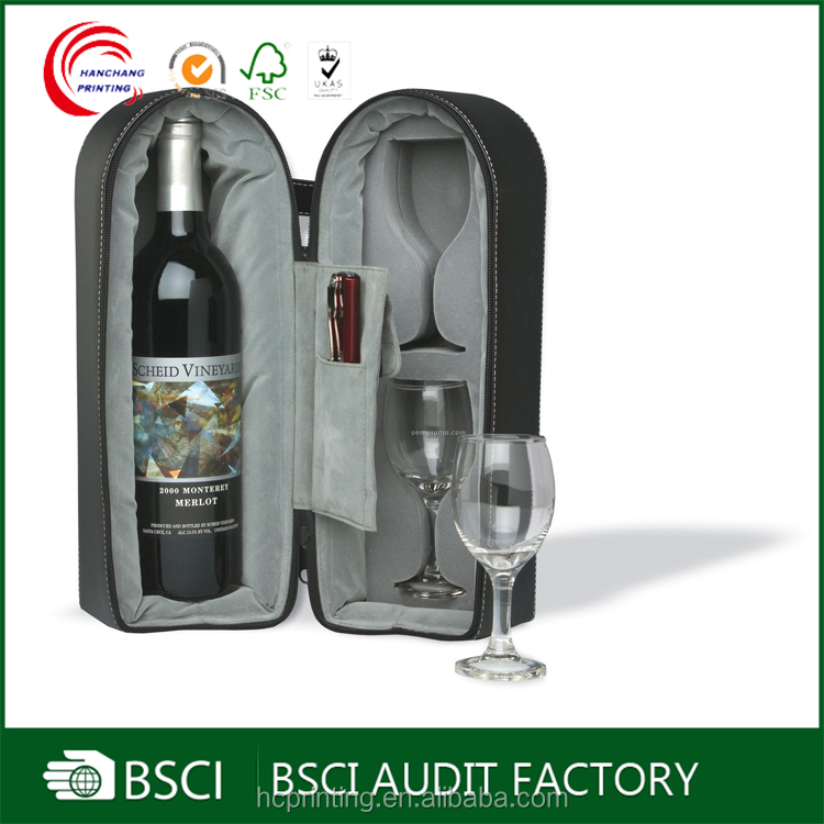 Wine gift packaging leather wine case with lining