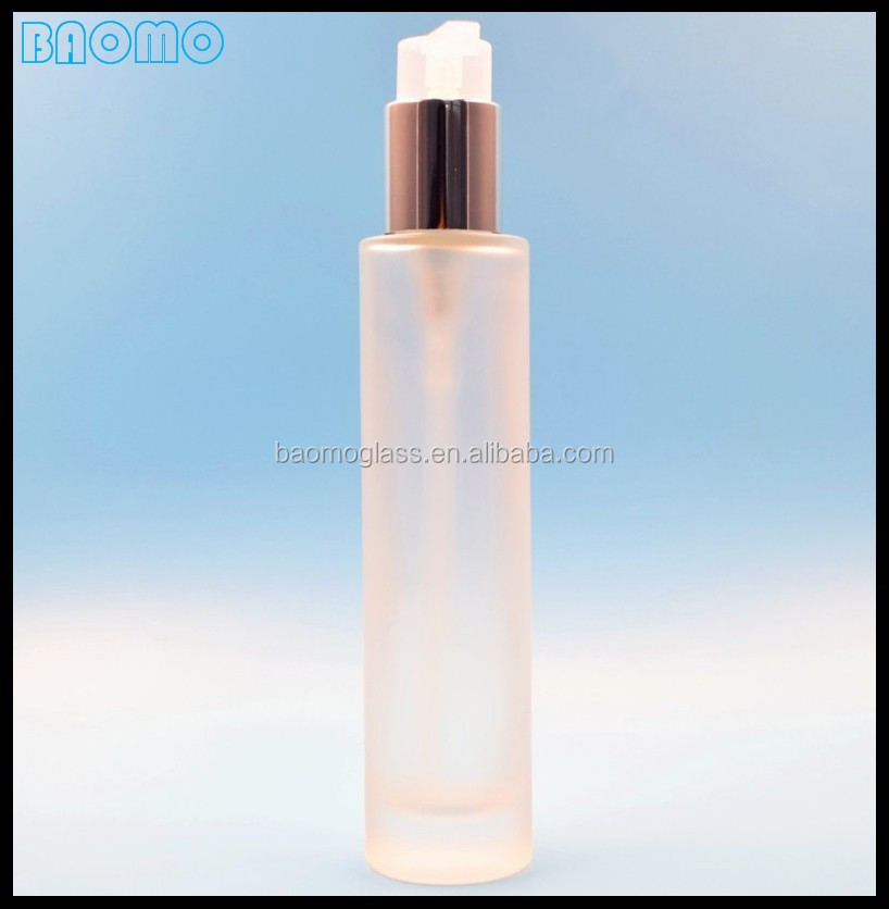 Luxury high quality tall cylinder 100ml Serum bottle glass with pump