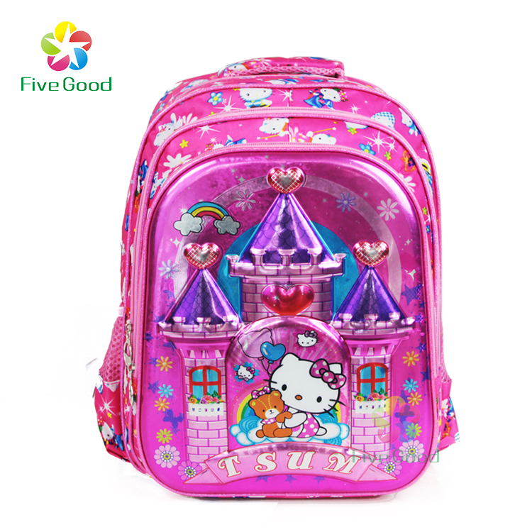 Wholesale new design 6d kitty patterns cartoon students backpack the custom girls school bag