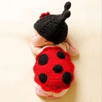 Newborn Baby Knit Crochet Handmade Photography Photo Props Baby Outfits beetle Design Infant Gift