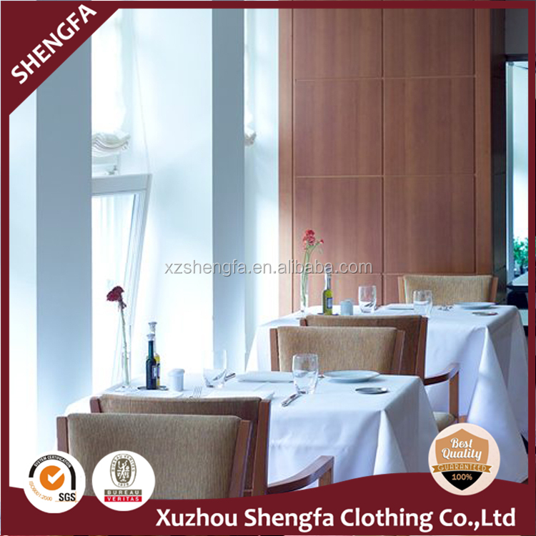 WHOLESALE WHITE 100%SPUN POLYESTER 12S*12S 7.2OZ RECTANGLE SATIN RELEASE TABLE CLOTH FOR RESTAURANT