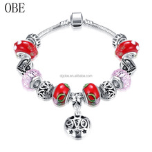 Custom designs silver plated Murano Glass Beads various charms options snake chain European bracelet Diy red Bracelet