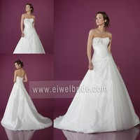Latest Style Strapless Beading Lace-Up Ball Gown Alibaba Wedding Dress