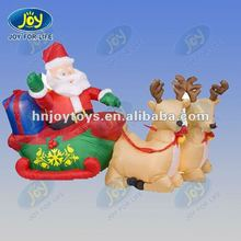 2012 cute inflatable santa with sleigh and reindeer