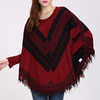 Wholesale Acrylic Fibers Purplish Red Joint Black Long Sleeve Women Sweater