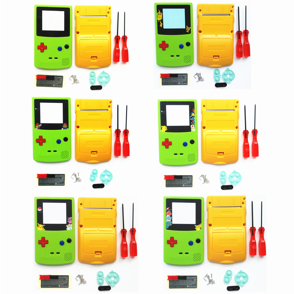 For GBC Pokemon Limitd Version Apple Green & Yellow Housing Shell For GBC Housing Case Pack