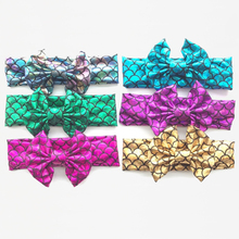 Trending Mermaid Pattern Cotton Fabric Baby Hair Accessories Bow Knot Headband Wholesale
