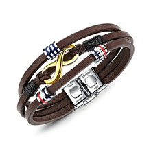 Marlary Fashion Men Women Vintage Infinity Charm Brown Leather Handmade Bracelet