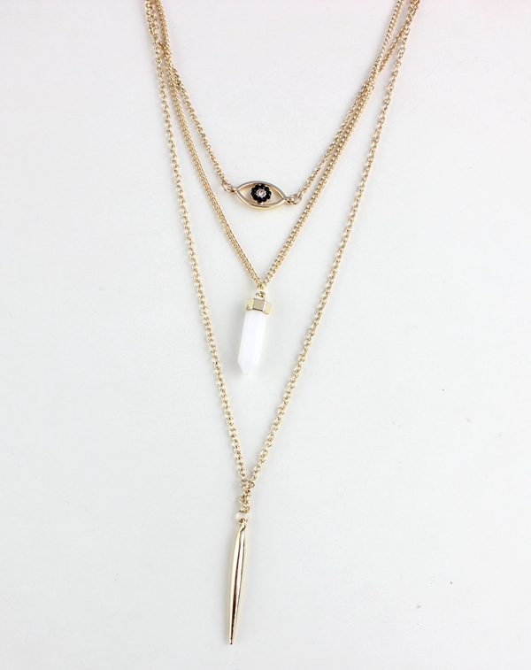 Fashion Bohe Long Chain Jewelry Hexagonal Gemstone Evil Eye Metal Bar Multi Layered Stone Necklace