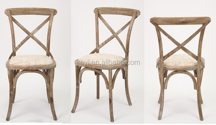 Wooden Antique Cross Back Bistro Chair/Wedding Chair(CH-532-OAK)