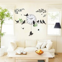 home decor cheap prices trendy nice modern art unique large iron wall clock with birds
