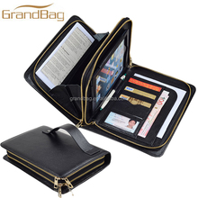 For iPad mini double zipper clutch wallet for iPad mini 4 full grain leather portfolio case for men hand clutch carrying bag