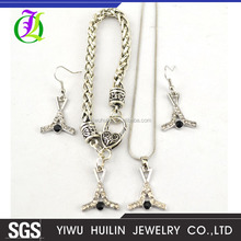 DSC6080 Yiwu Huilin Jewelry fashion Sport Crystal Pendant French Hook Ice Hockey Sticks jewelry Sets earring bangle necklace