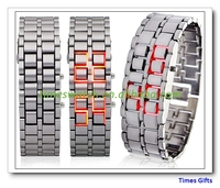 Drop shipping Mens style Red and Blue LED Metal Lava Style Iron Samurai Watch free shipping