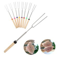 New set of 8 premium smore extendable stainless steel BBQ stick with wooden handle