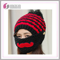 Stock Supplied Small Quantity 100% Acrylic Free Pattern Sports Winter Custom Knitted Hats With Multi Colors