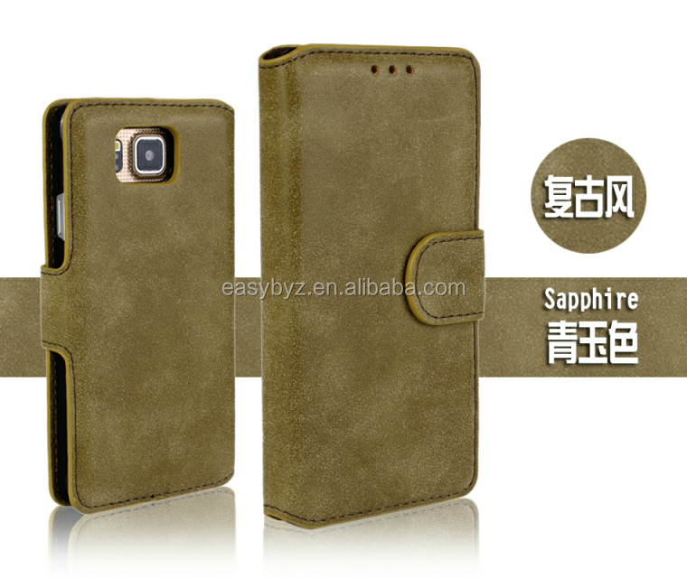 Trade Assurance OEM Embossed Logo Case for Samsung Galaxy Alpha G850 Flip Case Wallet Leather