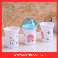 White PS Cups Transparent Cover Toothbrush Holder Rose Bathroom Set