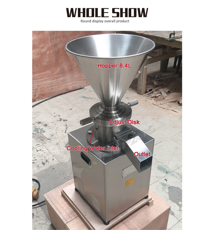 JMC80 Vertical Emulsifying Colloid Mill Industrial Sesame Grinding Peanut Butter Chili Sauce Making Machine Chocolate Refiner