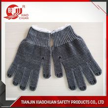 Cotton Knitted Safety Gloves with Two Sides PVC Dots