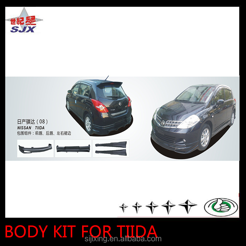 Body kit for old Tiida 2008 front and rear bumper side skirts 4pcs in one set car bodykit