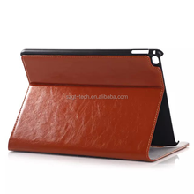 Cow leather hard PC back case with card slots stand for iPad Air 2