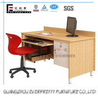 2016 Stylish Steel Leg Office Desk with Attached Wooden CPU Holder and Locking Drawers