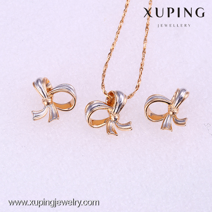 Promotion product cheap simple 4 gram elegant bow jewelry set for cut girls