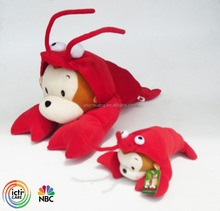 Custom plush monkey with lobster clothes stuffed animal toy