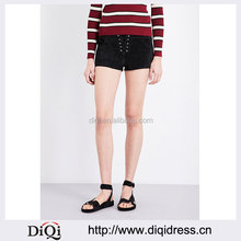 Wholesale Women Mid Rise Belt Loops Slip Pockets Suede Shorts(DQE0196P)