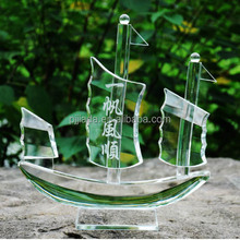 Hot sale new style home decoration souvenir gift Crystal Sailing ship model
