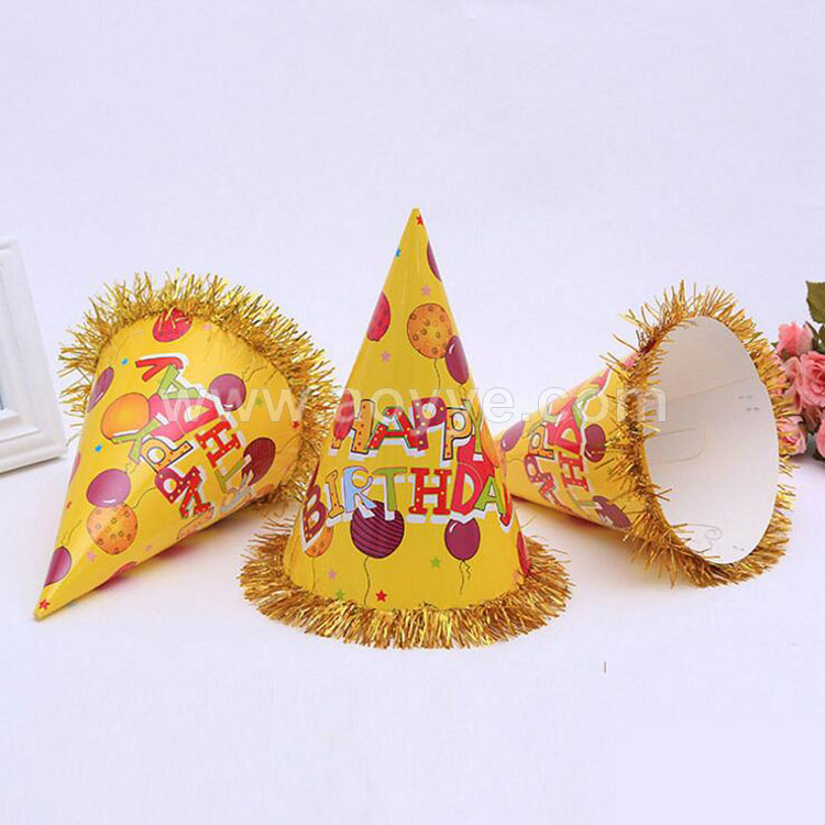 Wholesale fashion children cartoon disposable paper cone hat decoration happy birthday party cap