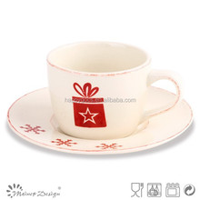 Christmas design french coffee cups and saucer