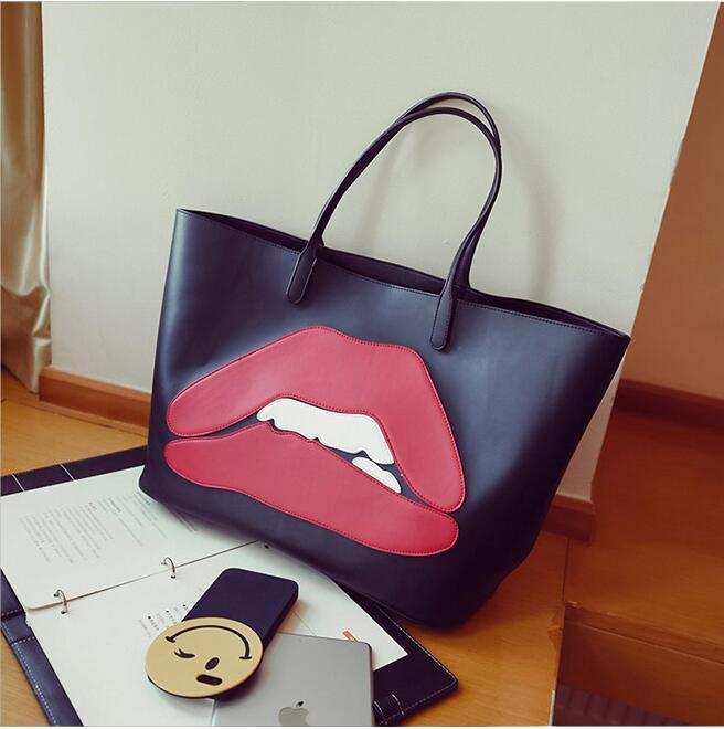Fashion lips Simple Women Bag Vintage Ladies Big Lady Bags Design Messenger Shoulder Bags Shopping Handbag Designer Totes