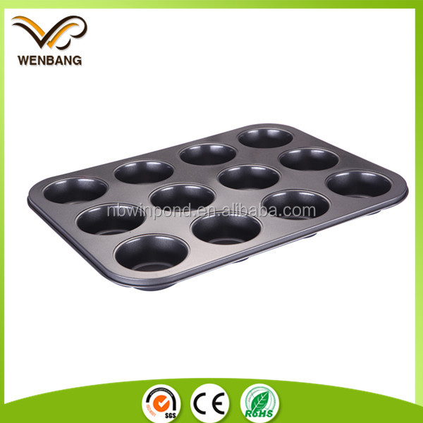 High quality 12cups nonstick carbon steel poffertjes muffin cake pans baking pan