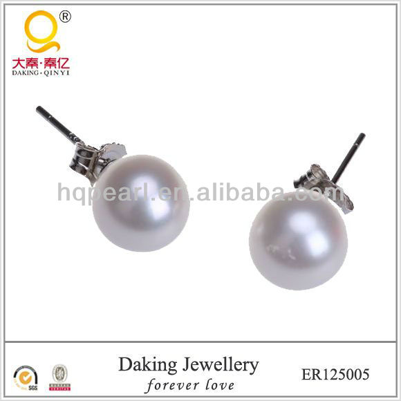 2013 fashion jewellery freshwater pearl earrings 925 sliver stud