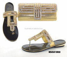 Hot wholesale Italian flat GOLD shoes matching bag sets for party and wedding